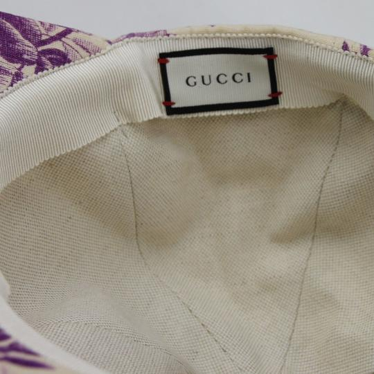 Gucci Beige/Purple Canvas Baseball Cap with Floral Print XL 408793 5278 Image 6
