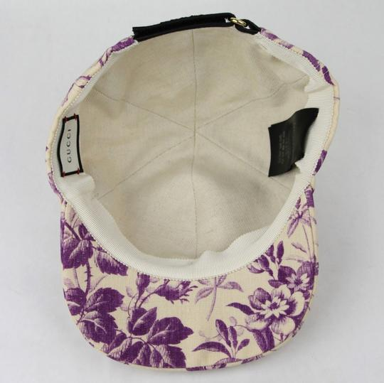 Gucci Beige/Purple Canvas Baseball Cap with Floral Print XL 408793 5278 Image 8
