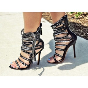 autumn shoes huge inventory 100% high quality Black Womens Roman Gladiator Pumps Strappy Ankle Boots High Heel ...