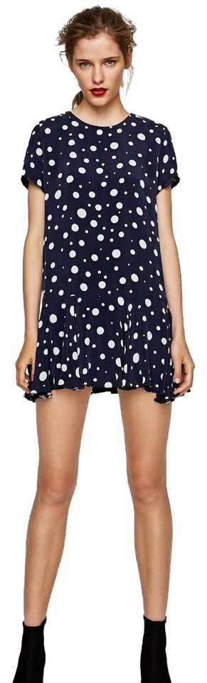 af9bc8e0 Zara Blue White Polka Dot Ruffle Bottom Mini Short Casual Dress Size ...