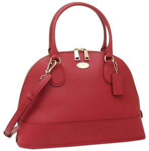 Coach Fashion Crossbody Leather Satchel in Red