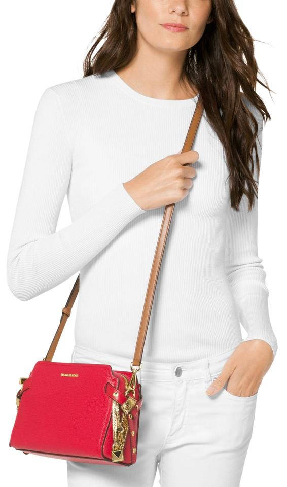 904aeb56cf60a Michael Kors Bristol Messenger Red Leather Cross Body Bag - Tradesy