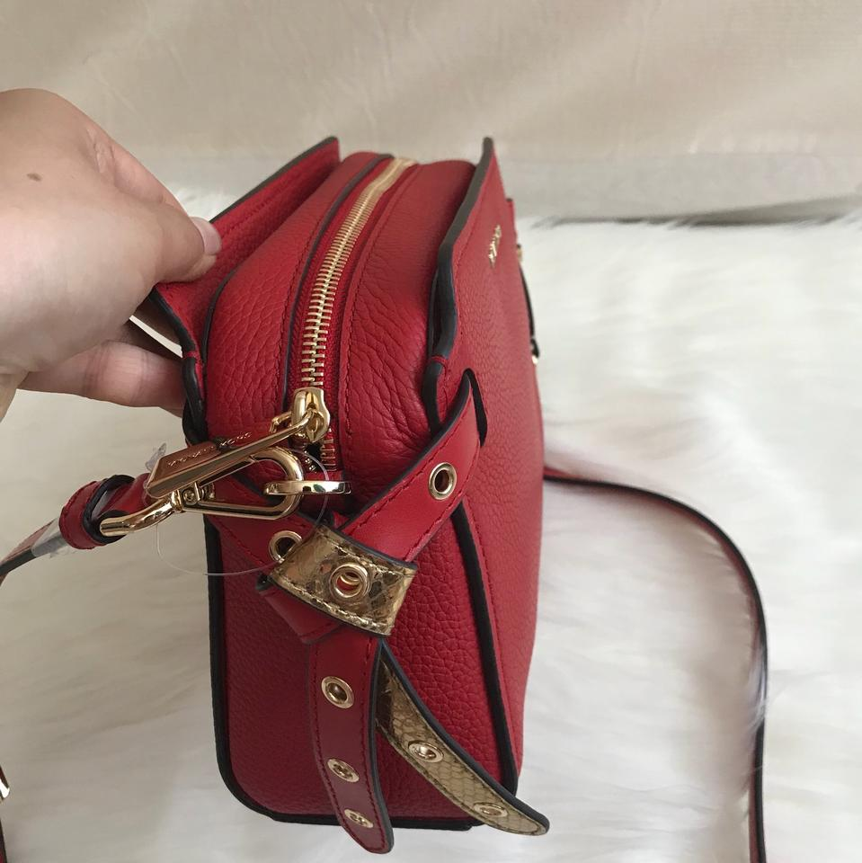 a78ac409fa8c Michael Kors Bristol Messenger Red Leather Cross Body Bag - Tradesy