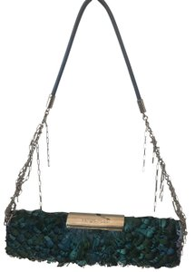 Sergio Rossi Feather Peacock Feather Chanel TURQUOISE Clutch