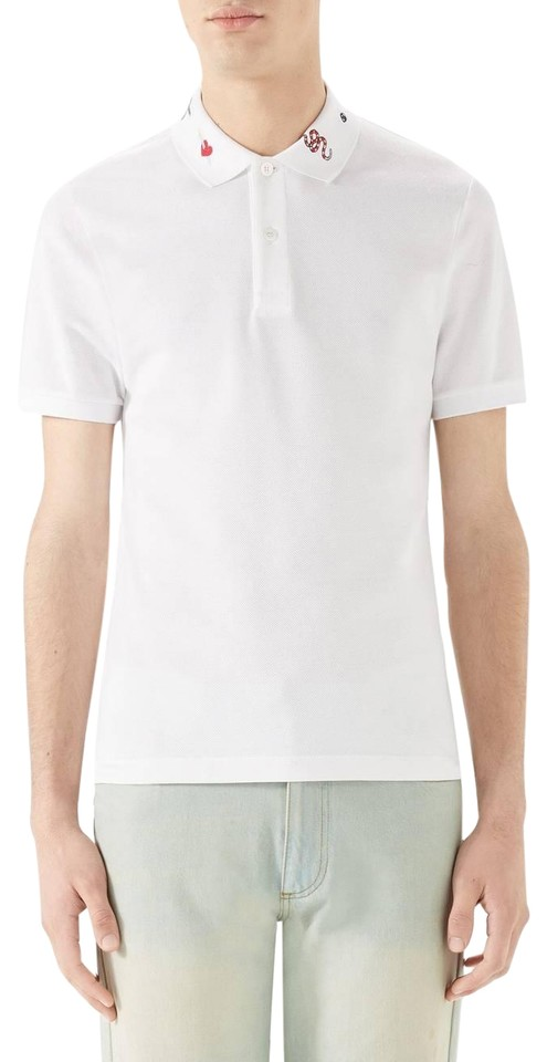 214e55c8759d Gucci White XL New Mens Embroidered Collar Pique Polo Tee Shirt Size ...