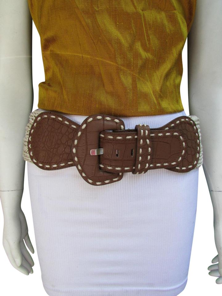 406a20367 Brown Off White Women Wide Waist Braided Big Buckle M L Belt - Tradesy