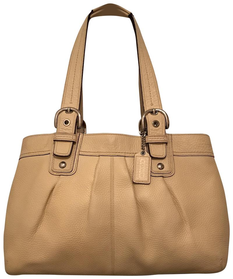 117864936b Coach X-large Soho Pleated Business Shopper Tote F13732 Beige Yellow Silver  Leather Satchel