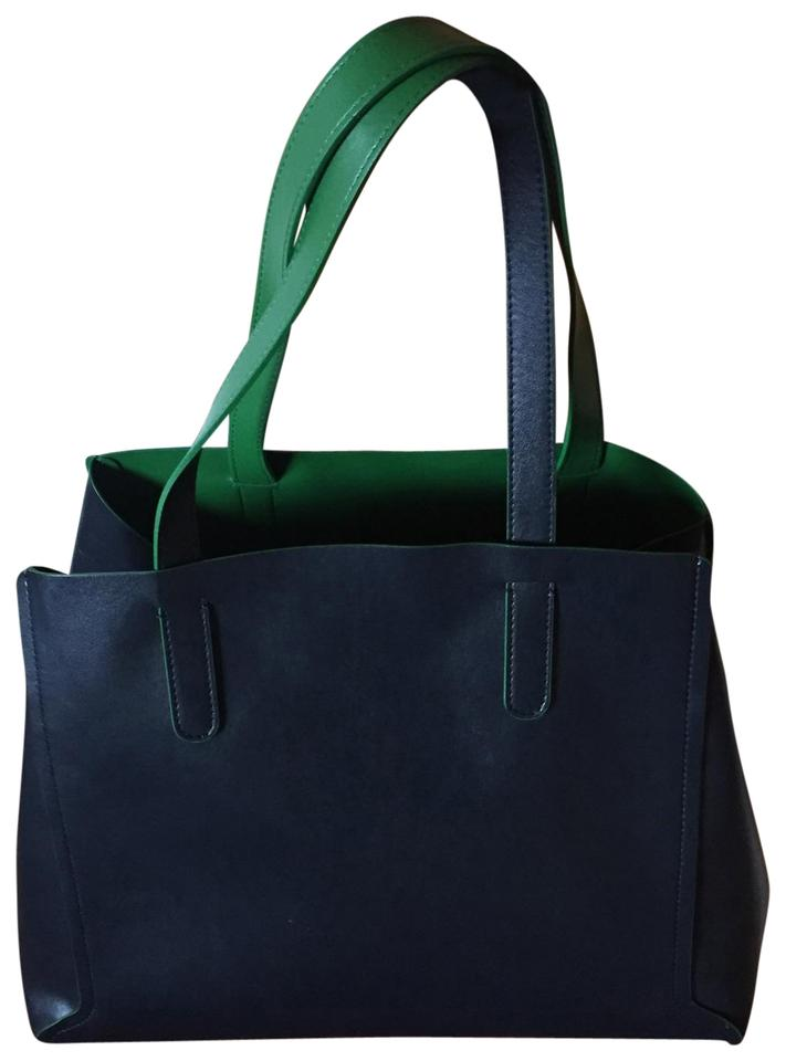 4da0a0dc096f GERARD DAREL Vegan Simple 2 Reversible Blue Green Faux Leather Tote ...