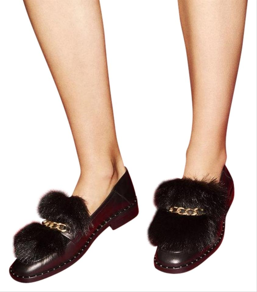 6dd93b50f28 Maje Black Felix Leather Fur Loafers with Chain Flats Size US 9 ...