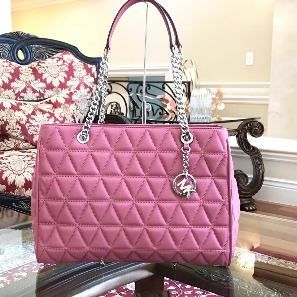c39bc5203fd0d8 Michael Kors Vivianne Large Tote Chain Quilted Handbag Tulip Lamb Leather Shoulder  Bag