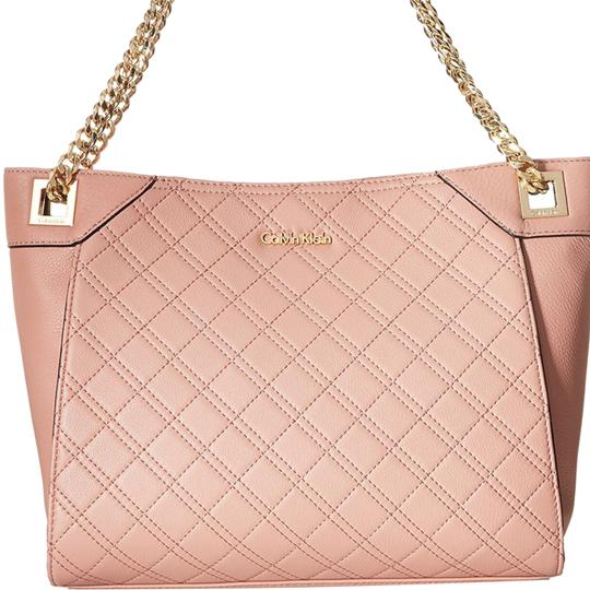 Calvin Klein Fashion Blush Pink Quilted Pebbled Leather