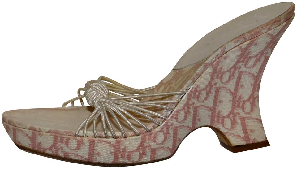 Dior Pink and and Pink White Monogram Sandals 529a96