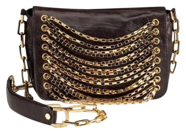 Item - Chain Strand Coconut (Dark Brown) Lambskin Leather Cross Body Bag