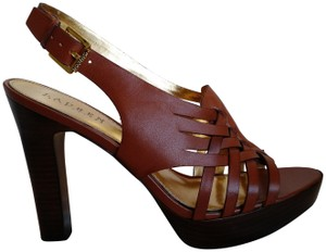 Lauren Ralph Lauren Woven Leather Saddle/Brown Sandals