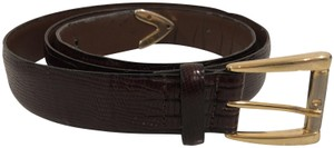 Saint Laurent VINTAGE YSL CROC EMBOSSED LEATHER BELT-BROWN GOLD BUCKLE