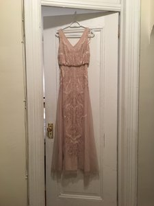 Adrianna Papell Blush Beaded Polyester with Tulle Style #35953033 Traditional Bridesmaid/Mob Dress Size 2 (XS)
