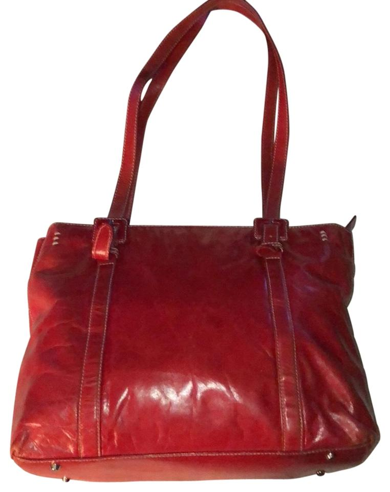 Kate Landry Glazed Red Leather Tote - Tradesy