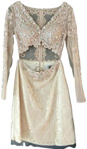 Precious Formals Lace Embellished Cut-out Sheer Longsleeve Dress