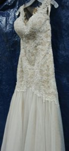 Galina Ivory/Champagne Beaded Venice Lace Trumpet Gown Sexy Wedding Dress Size 12 (L)