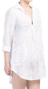 For Cynthia linen flamingo print cover up