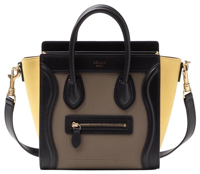 Item - Luggage Nano In Multicolour Baby Grained Black Taupe & Yellow Calfskin Leather Cross Body Bag