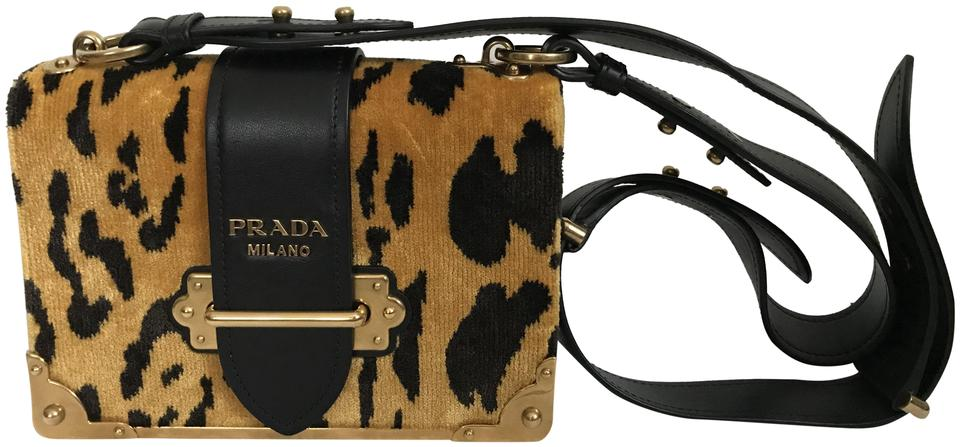 a1acc92aed Prada Cahier Leopard Black Leather Handbag Yellow Velvet Shoulder ...