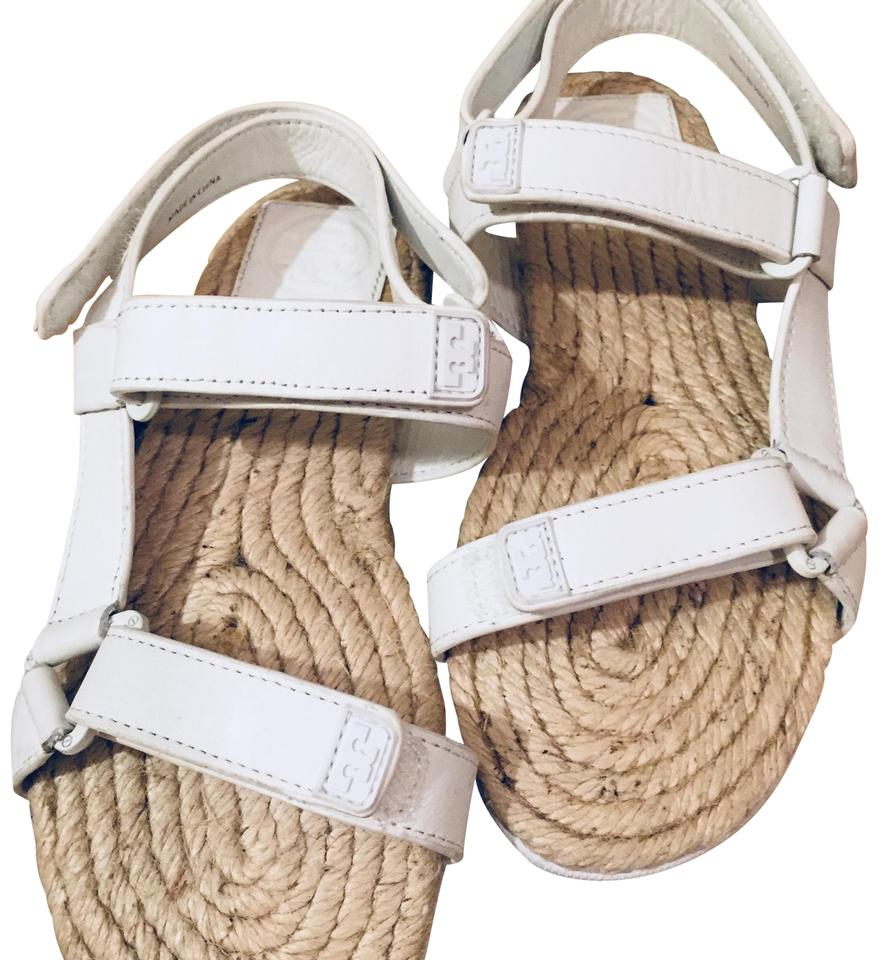 c830a9f8a1a Tory Burch Espadrille Footbed Leather Straps Velcro Closures white Sandals  Image 0 ...