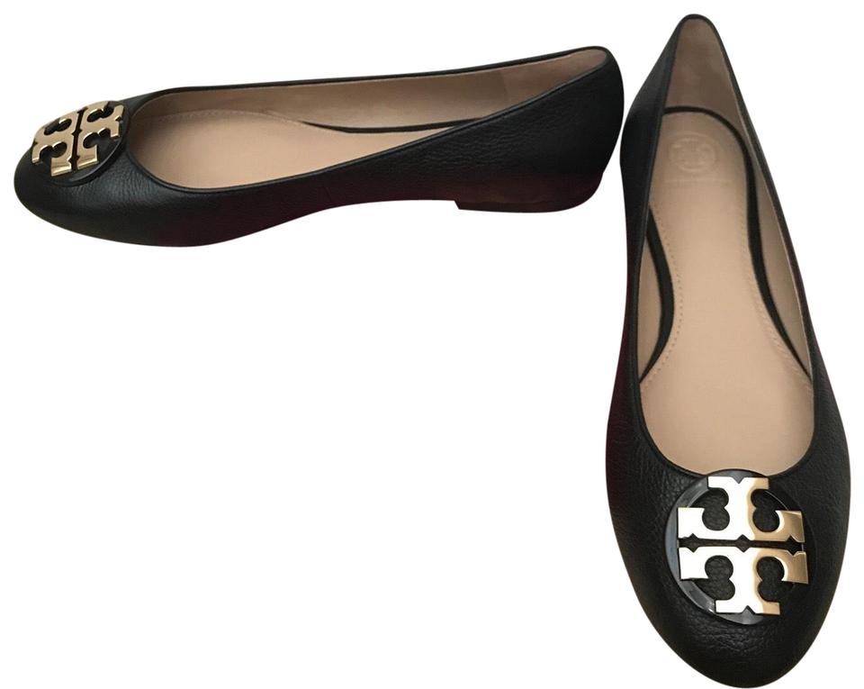 97cf12d37 Tory Burch Black Claire Ballet Tumbled Leather Flats Size US 9 ...