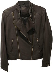 ecru brown and gold accents Leather Jacket