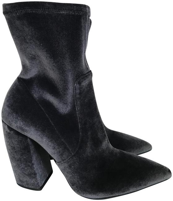 Item - Dark Gray Velvet Pointed Toe Chunky Heel Ankle Boots/Booties Size EU 38 (Approx. US 8) Regular (M, B)