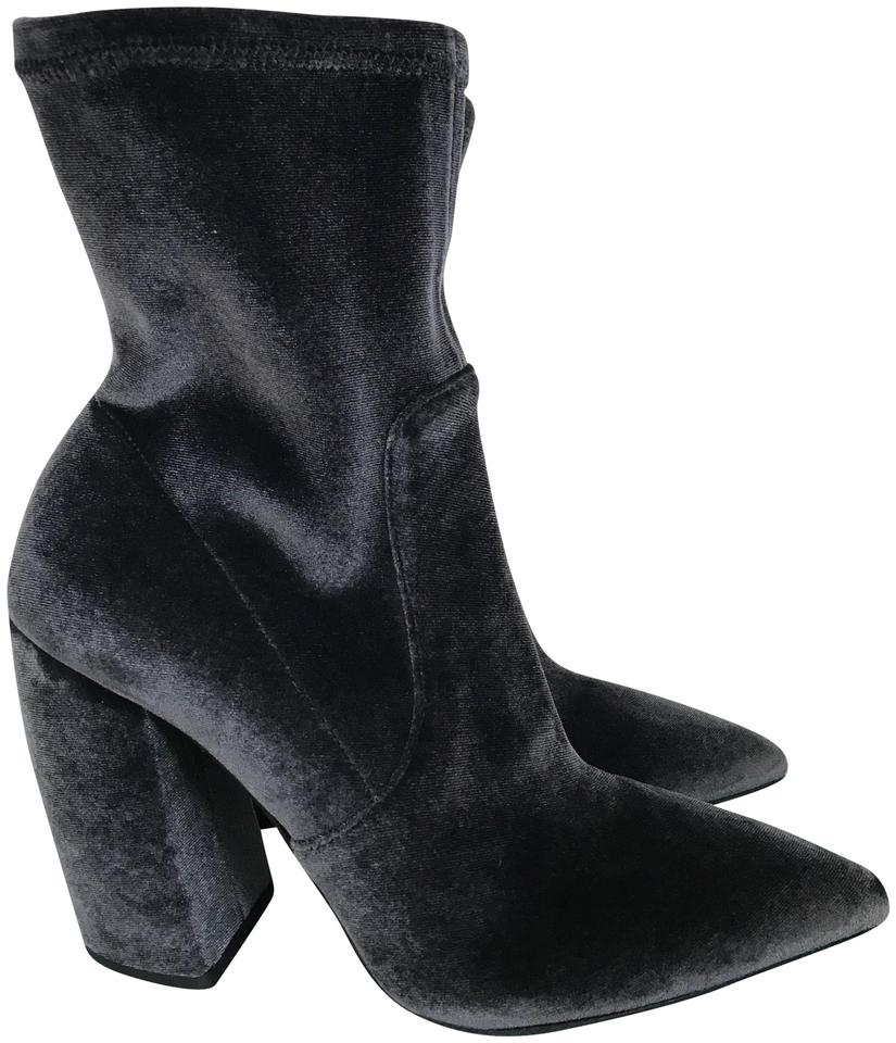 f4b8f84861e Prada Dark Gray Velvet Pointed Toe Chunky Heel Ankle Boots Booties ...