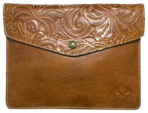 Patricia Nash Designs Italian Leather Tooled Ipad Travel Brown Clutch