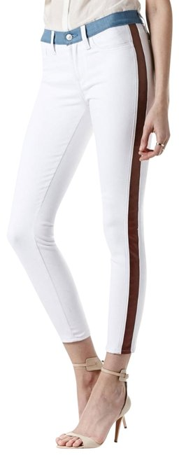 Item - White Crop with Leather Panels By Skinny Jeans Size 24 (0, XS)