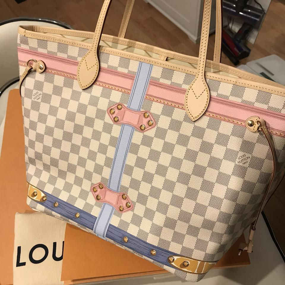a412801c0124 Louis Vuitton Neverfull Mm Summer Trunk Damier Azur Canvas Tote - Tradesy