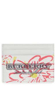 Burberry NEW Burberry Sandon Leather Doodle Card Case White