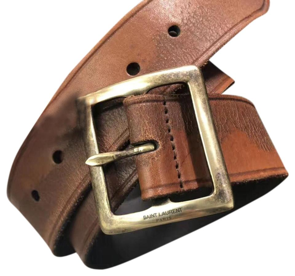 768a144527211 Saint Laurent Brown Ysl Vintage Bull Corteccia Belt - Tradesy