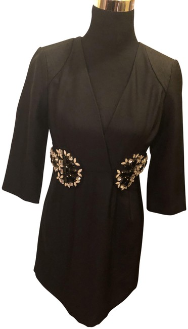 Item - Black Polyester with Rhinestone Accents Short Cocktail Dress Size 8 (M)