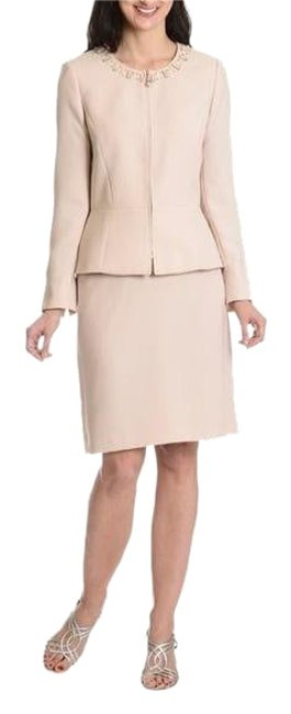 Item - Nude Arthur S. Levine Women's Embellished Zip Front 2-piece Skirt Suit Size 6 (S)