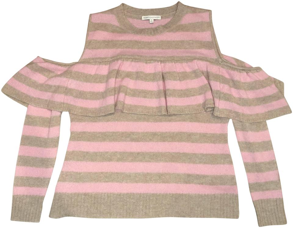 promo code 91e87 1aecf Rebecca Minkoff Cold Shoulder Striped Ruffle Cashmere Pink Sweater