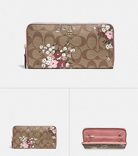 new arrival 10663 10ffe Coach Pink Multi Accordion Zip In Signature Canvas Daisy Bundle F29931  Wallet 67% off retail