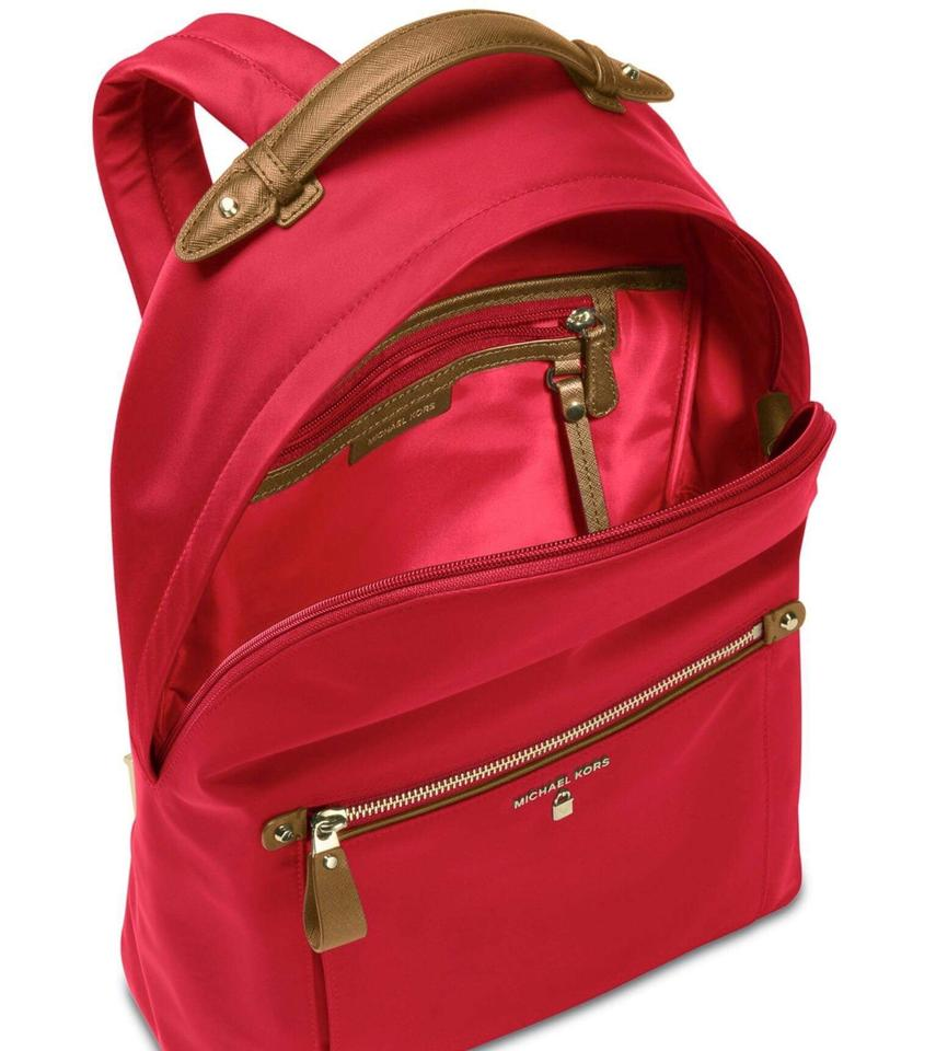 d651b1b618ff Michael Kors Large Travelling Mix Leather Red Nylon Backpack - Tradesy