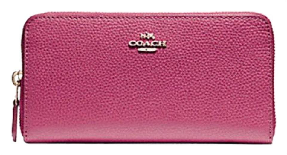 a2a7794d6d Coach Rouge Pink Accordion Zip Pebble Leather F16612 F 55950 Wallet ...