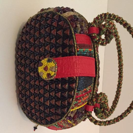 Mary Frances Multi With Red Accent Clutch
