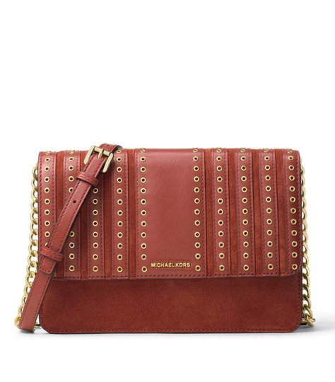 fa55d491f3bb Michael Kors Brooklyn Grommet Large Brick Red Suede Leather Cross ...
