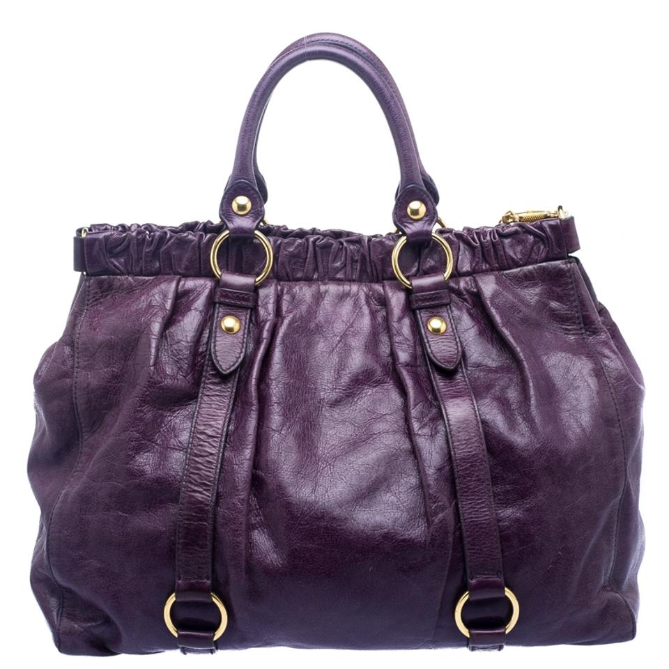 789130afcae0 Miu Miu Vitello Lux Gathered Purple Leather and Satin Tote - Tradesy