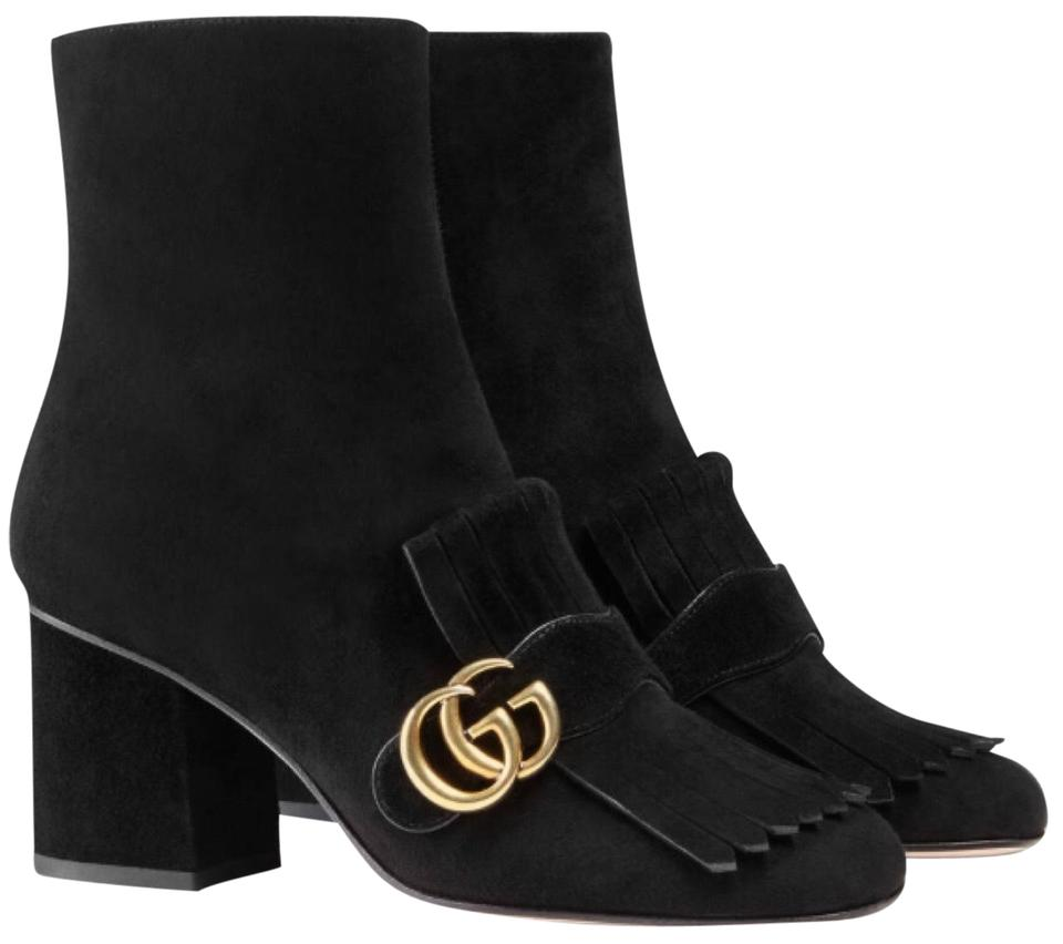 5e5e152bf Gucci Black Marmont Fringed Logo Embellished Suede Ankle Boots/Booties