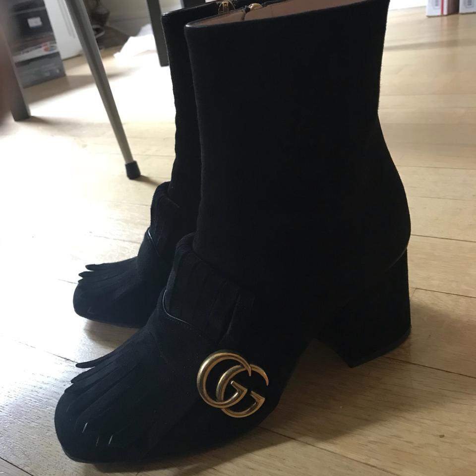 903e61810ef8 Gucci Black Marmont Fringed Logo Embellished Suede Ankle Boots/Booties Size  EU 38 (Approx. US 8) Regular (M, B) - Tradesy