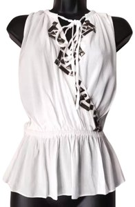 Line & Dot Studded Top off white