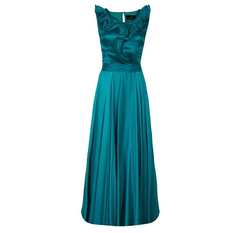 Carolina Herrera Green Ch Ruffle Silk Gown M Long Cocktail Dress ...