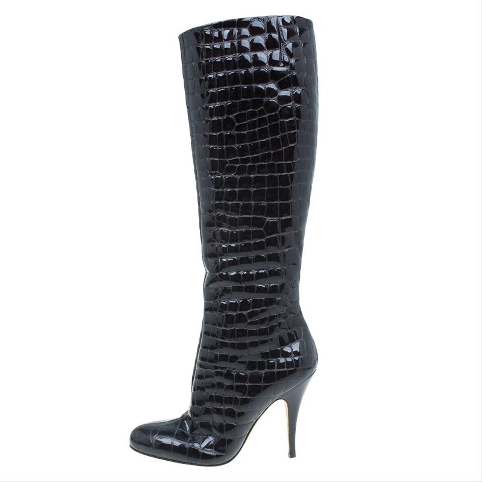 Giuseppe Zanotti Brown Dark Knee Patent Croc Embossed Over Knee Dark Boots/Booties e2c3dc